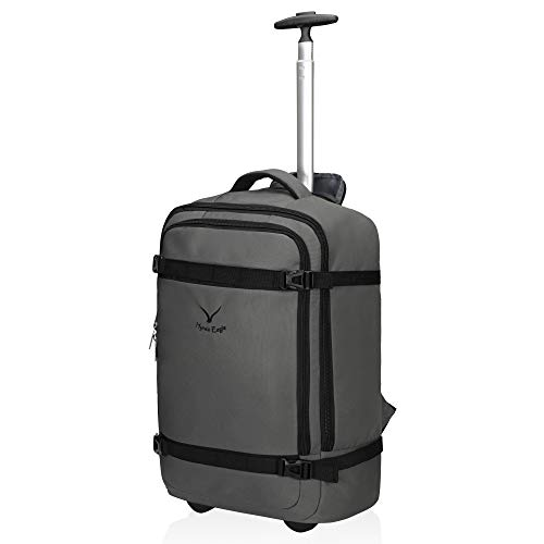 Hynes Eagle 42L Rolling Backpack Wheeled Backpack Flight Approved Travel Backpack Carry on Luggage Backpack Luggage Grey