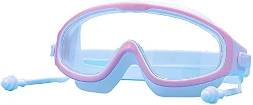 AWJ Gafas de natación antivaho de Montura Grande para niños con Tapones para los oídos Gafas de Buceo Impermeables para niños Equipo Gafas de Piscina para niños, Verde tierno