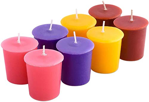Exquizite Chakra Meditation Scented Tea Lights Candles - 64 pcs - Scented Candles Set - Sandalwood, Patchouli, Frankincense Myrrh, Ylang Ylang - Chakra Candles for Relaxation & Chakra Balancing (8-votive)