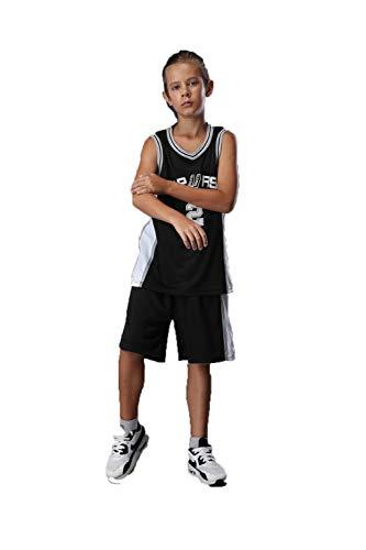 Basketball Trikot Kinderanzüge Herren und Damen Basketball Trainingsuniformen Trikots von San Antonio Spurs Für Kinder geeignet,Black,2XS
