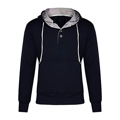 RYTEJFES Sudadera con capucha para hombre, de manga larga, con capucha, bolsillo de canguro, con cordón, corte suelto, para otoño e invierno, azul marino, XXL