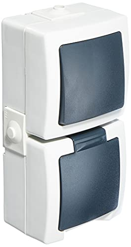 Kopp 138556008 Nautic - Juego de Interruptor y Enchufe con Tapa, Color Gris