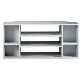 Suki - Mueble esquinero para televisión, color blanco