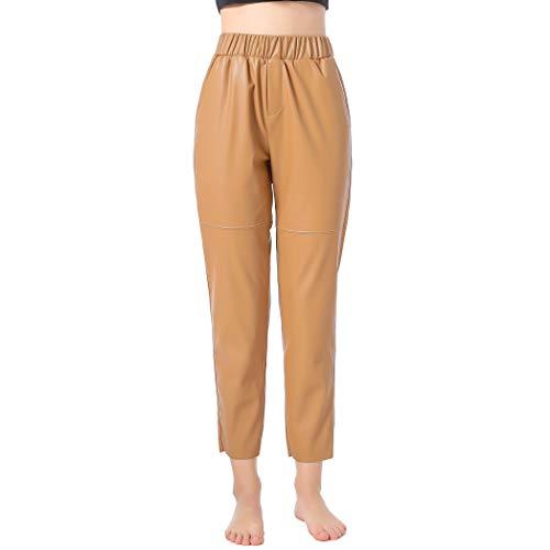JOPHY & CO. Cropped Hose für Damen, breit, bequem, elastisch, aus Kunstleder, mit Taschen (Code 9838), Cabana, Beige L