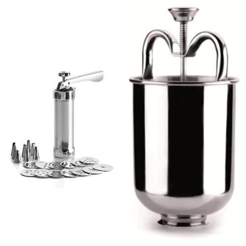 IBILI Churrera-Máquina de pastas-Acero Inoxidable-Incluye 13 Discos y 8 boquillas-Churros Rellenos, Aluminio, Centimeters + 734200 Rosquillera INOX