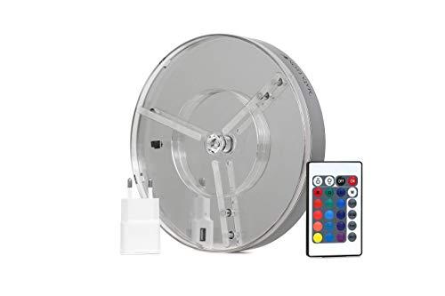 MATA LEON Shisha LED Untersetzer mit Fernbedienung Akku und Bluetooth Lautsprecher | Farbverlauf Farbwechsler Effekt Licht für Wasserpfeife Hookah 15cm Durchmesser