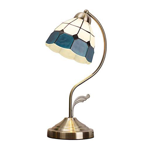 Lámpara de Mesa Pastoral Retro Country Mediterráneo Estilo Barroco Luces de Escritorio Protección para los Ojos Pantalla de Noche Lectura Deco Lámparas para Comedor Dormitorio Estudio Interr