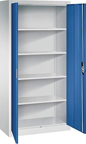 CP Stahlschrank abschließbar 195x93x50 cm in grau blau - Flügeltürenschrank Aktenschrank Lagerschrank Werkzeugschrank