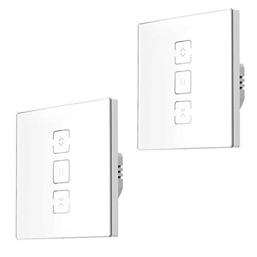 Orbecco WiFi Smart Vorhangschalter, WLAN Vorhang Rolladen Jalousien Schalter mit Touch Panel und APP-Fernbedienung Sprachsteuerung, Kompatibel mit Google Home Alexa Echo, ohne Hub Benötig -2Pcs