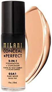 Milani Conceal + Perfect 2-in-1 Foundation + Concealer - Pure Beige (1 Fl. Oz.) Cruelty-Free Liquid Foundation - Cover Under-Eye Circles, Blemishes & Skin Discoloration for a Flawless Complexion