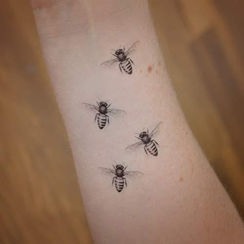 Set von 4 Mini-Honigbienen-Tätowierungen. Zubehör für Honigbienen