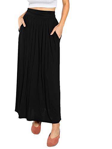 DIDK Damen Maxi Rock Plissee Elastische Taille Lange Röcke Elegant A Linie Sommerrock mit Taschen Lässig Jersey Rock Rüsche Hohe Taille Skirt Schwarz#1 M