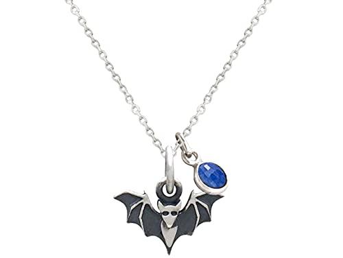 Gemshine Halskette 3-D Fledermaus Batman mit blauem Saphir Edelstein Anhänger in 925 Silber, vergoldet oder rose. Tier der Natur, Nacht und Wildlife - Made in Spain, Metall Farbe:Silber