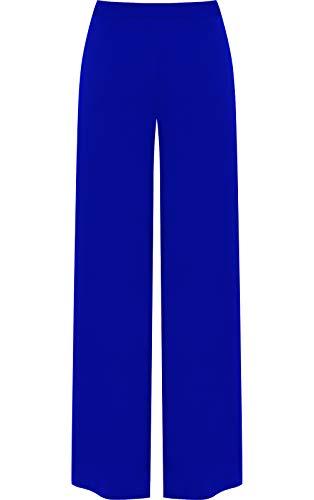 WearAll - Übergröße Crepe mit weitem Bein Ausgestelltes Palazzo-Hose - Blau - 40-42