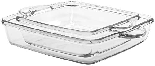 Red Co. Square Clear Glass Casserole Baking Dish 2 Piece Set for Oven, Microwave, Dishwasher, Fridge