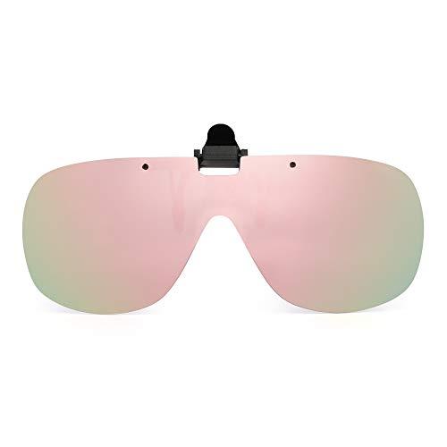 JM Polarizadas Clip en Gafas de Sol Sin Marco Flip Up Una Pieza Lente de Proteger Para Receta Anteojos Rosa Espejo