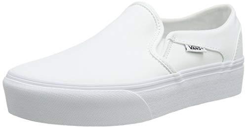 Vans Women's Asher Platform Slip-On, White Canvas White 0rg, 34.5