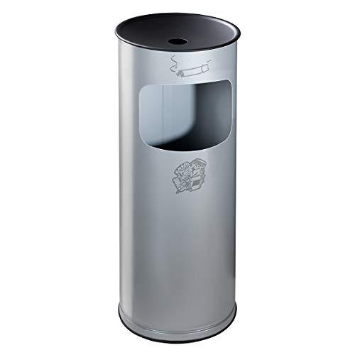 Combiné cendrier-poubelle de sécurité en tôle d'acier - hauteur 610 mm, capacité poubelle 17 l - argent - auto-extinguible bac à cendres cendrier cendrier de sécurité cendrier sur pied cendriers collecteur de cendres collecteur de déchets combiné