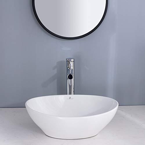 HOMELODY Waschbecken Set Keramik mit Siphon und Ablaufgarnitur Aufsatzwaschbecken Weiss 41cm Waschschale Gäste WC Handwaschbecken(410*340*135mm)