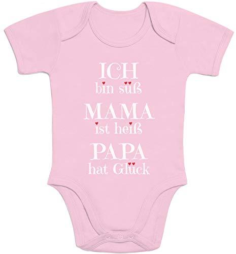 Süßer Spruch Ich Bin süss, Mama ist heiß, Papa hat Glück Baby Body Kurzarm-Body, Rosa, 12 Monate
