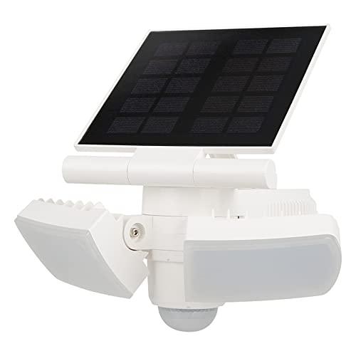 Luces solares LED para exteriores con sensor de movimiento, 8W, 5000K, 500LM, luz de seguridad de doble cabezal Foco ajustable, luces solares de 2000 mAh a prueba de agua para puerta delantera, garaje