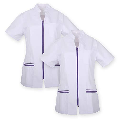MISEMIYA - Pack*2 - Casaca SEÑORA Mangas Cortas Uniforme Laboral CLINICA Hospital Limpieza - Ref.702 (Pack*2) - M, Lila