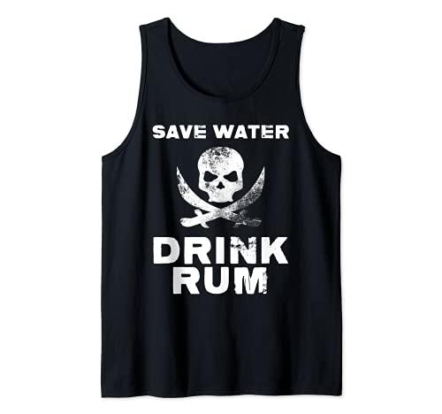 Ahorrar agua Beber licor alcohólico Bebidas Cocteles Ron Camiseta sin Mangas