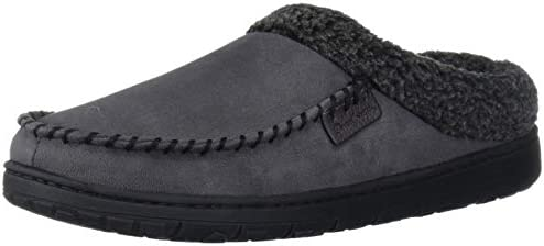 Dearfoams Men s Microfiber Suede Clog with Whipstitch Slipper Pavement Medium product image