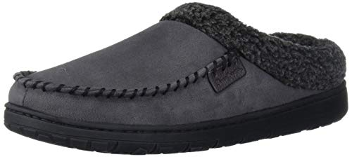 Dearfoams Men's Microfiber Suede Clog with Whipstitch Slipper, Pavement, Large Wide