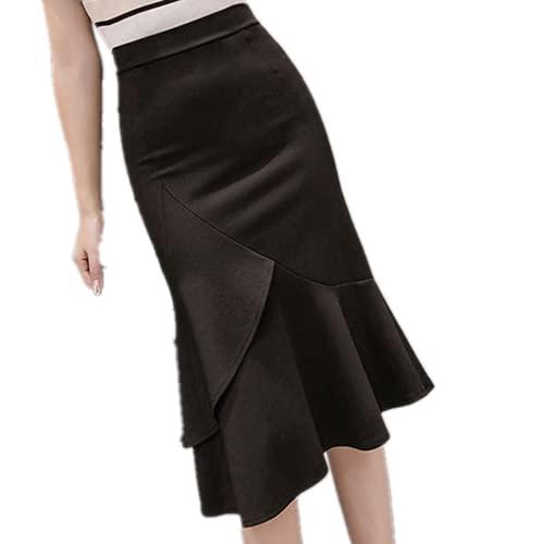 Faldas De Encaje Negro Beige Mujer Faldas Hasta La Rodilla Para Las Mujeres Delgado Elegante Sólido