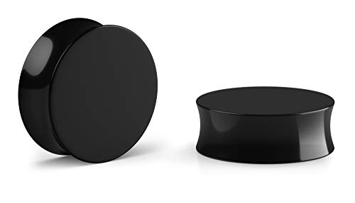 Crazy Factory® - 2 dilatadores dobles de acrílico | 20 mm | negro + piercing + oreja + barato + Basic + Top calidad