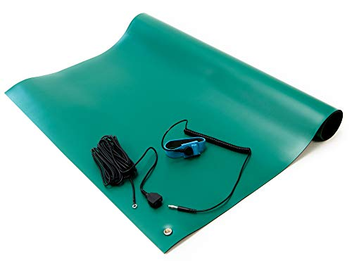 Bertech ESD Soldering Mat Kit, 2 Feet Wide x 3 Feet Long x 0.06 Inches Thick, Green, Includes a Wrist Strap and Grounding Cord, RoHS and REACH Compliant (Assembled in USA)