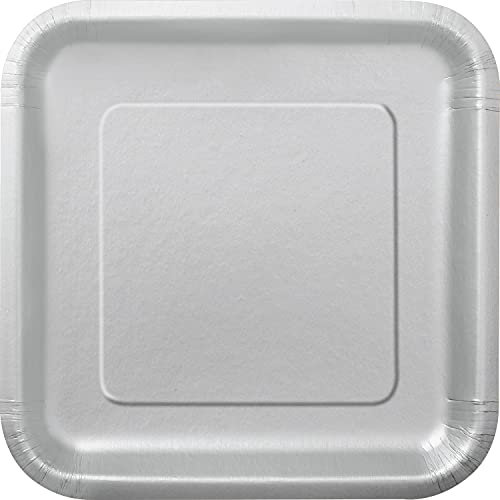 Unique Party Cuadrados de Papel Ecológicos-23 cm Plata-Paquete de 14, color silver (33443EU)