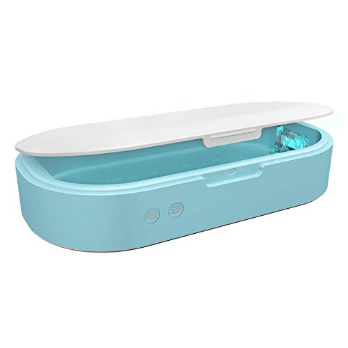 Cell Phone Sanitizer,UV Smartphone Sterilizer Box,Ultraviolet Sanitizer Box with Dual LED Aromatherapy Function Disinfector for iPhone Android Cellphone Toothbrush Salon Tools Jewelry Watches