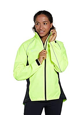 Mountain Warehouse Adrenaline Womens Waterproof Jacket - Breathable Ladies High Visibility Coat, Taped Seams, Reflective Trims Rain Jacket - for Cycling, Running