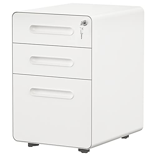 YITAHOME 3-Drawer Rolling File Cabinet, Metal Mobile File Cabinet with Lock, Filing Cabinet Under Desk fits Legal/Letter/A4 Size for Home/Office, Fully Assembled-White