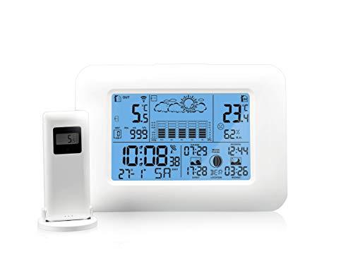Oritronic Wetterstation Funk mit Außensensor,Innen-und Außenthermometer,Digitai Hygrometer für innen, Wettervorhersage,Mondphase,Zeitanzeige,Weckalarm(weiß)