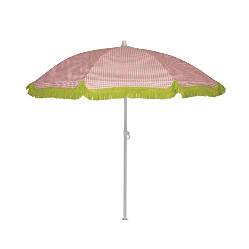 EZPELETA Sombrilla de Playa. Parasol de Playa. Ligero y Plegable de Acero. Paraguas Sol. Protección Solar UPF 50+. Diámetro 150cm. Estampado Flores/Cuadros/Rayas. Incluye Funda/Bolsa. - Cuadros-Coral
