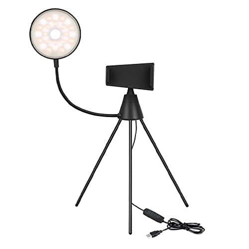 YUYAN Mini cámara LED Selfie anillo de luz con trípode soporte de control remoto teléfono celular titular 3 colores regulable para transmisión en vivo con control remoto