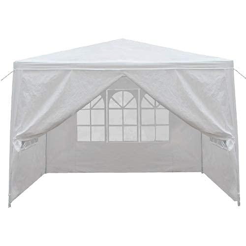 MNHGFD Carpa de 3 × 3 M al aire libre con 3 paredes laterales extraíbles, carpa instantánea comercial impermeable para bodas, camping, barbacoa, patio, cóctel, festival, color blanco