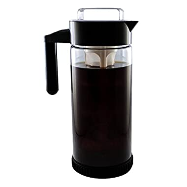 3 in 1 Cold Brew Iced Coffee Maker with Non-Slip Base | Iced Tea Maker | Fruit Infusion Pitcher |A FakeSpot Rating | Premium Borosilicate Glass | BPA Free | Dishwasher Safe | 44oz | BONUS INFUSER