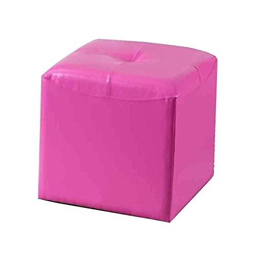 FSYGZJ Sofá Taburete Mesa de Centro Taburete Puf de Cuero sintético Taburete otomano Banco Zapatero Cuadrado, 40 X 40 X 43Cm (Color: Rojo Rosa)