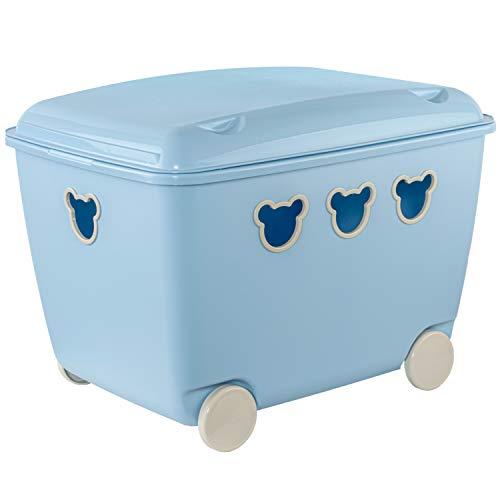 BranQ Bear Box Spielzeugkiste mit Deckel und Rollen Aufbewahrungsbox Bär 55L (Blau)