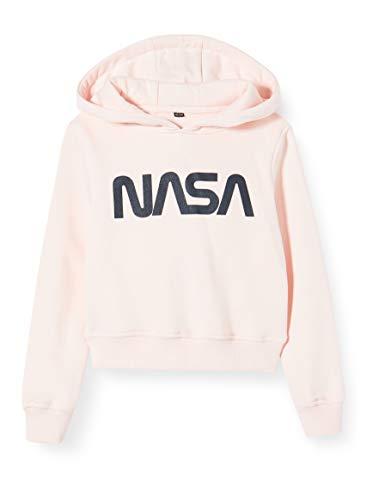 Mister Tee Mädchen Kids NASA Cropped Hoody Kapuzenpullover, Rosa (Pink 00185), 152 (Herstellergröße: 146/152)
