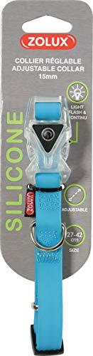 Zolux Collier Réglable En Silicone Avec Boucle Lumineuse Pour Chien Largeur 15 Mm - 27 À 42 Cm - Bleu Pour Chien
