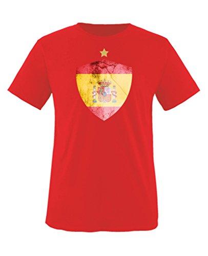 Comedy Shirts - Spanien Trikot - Wappen: Groß - Wunsch - Kinder T-Shirt - Rot/Gelb Gr. 134-146