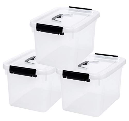 85 Quart Clear Storage Latch Box Plastic Container with Latches and Lid 3-Pack