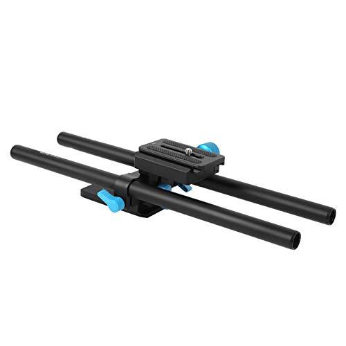 DAUERHAFT Sistema de Placa de Base portátil Plataforma de Soporte SIGA la Plataforma de Soporte FOTGA Placa de Base de Varilla de riel de Metal con Dos Postes de 30 cm. Altura Ajustable
