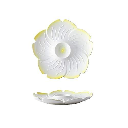 Placa de cena creativa Sakura placa de cerámica, placa de bola de masa de cerámica Surtido dividido en placa de fruta, placa de la cena del hogar, placa de desayuno, linda vajilla adecuada para cocina