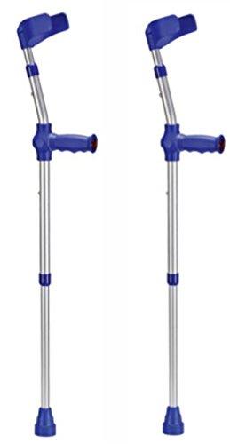 Pflegehome24® Kinder-Unterarmgehstützen Krücken 1 Paar Gehhilfen Leichtmetall mit Reflektoren, blau